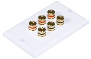 Banana Binding Post Wall Plate for 3 Speaker - Coupler Type-0