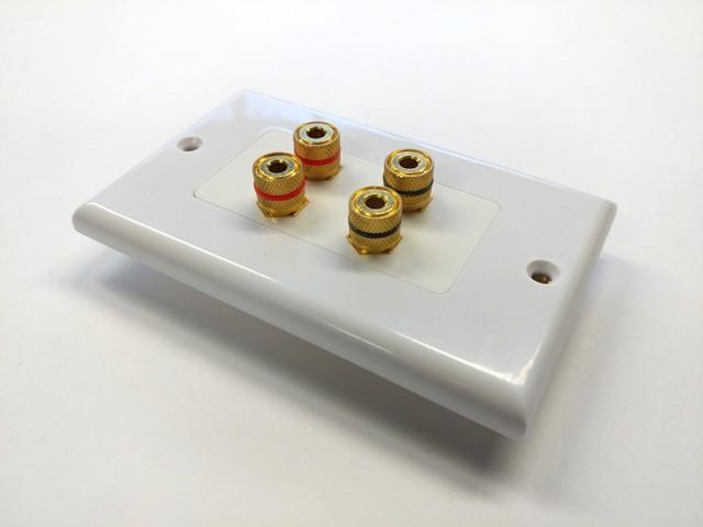 1 Speaker 2 Binding Post Banana Jack Wall Plate Face Plate White 10 Pack Lot