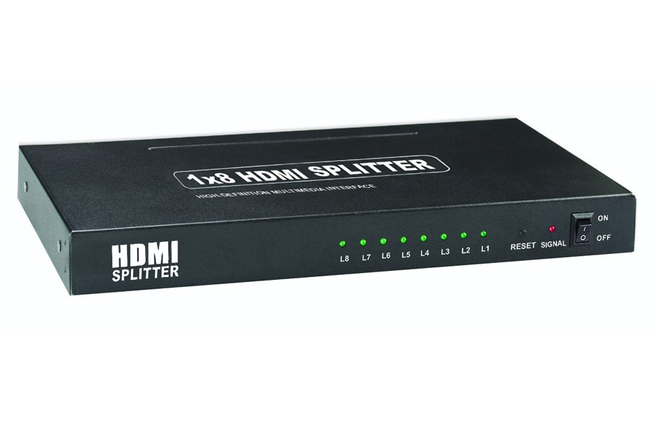 1x8 HDMI Splitter with 3D Passthrough Full HD 1080P, Deep Color, HD Audio