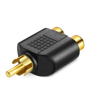 RCA Plug (Male) to 2 RCA Jack (Female) Splitter Adaptor - Gold Plated