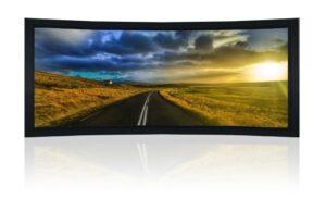 """160"""" 2.35:1 Curved Cinemascope Acoustic Fixed Frame Screen - Black Velvet Frame"""