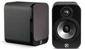 Q Acoustics QA3010 Small Bookshelf Speaker Black Leather