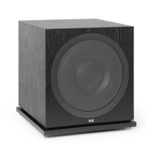 ELAC Debut 2.0 SUB3030 - Angled view with included floor spikes installed