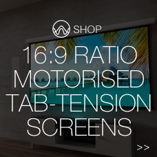 16:9 ratio motorised tab-tension screen