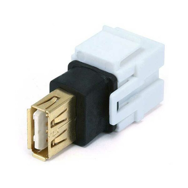 Rapallo | Keystone Jack - USB 2.0 A Female to A Female Coupler Adapter, Flush Type (White)
