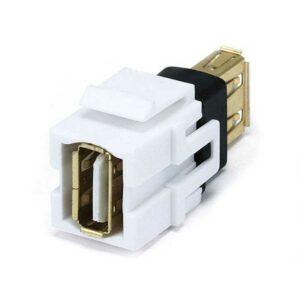 Rapallo | Keystone Jack - USB 2.0 A Female to A Female Coupler Adapter, Flush Type (White)