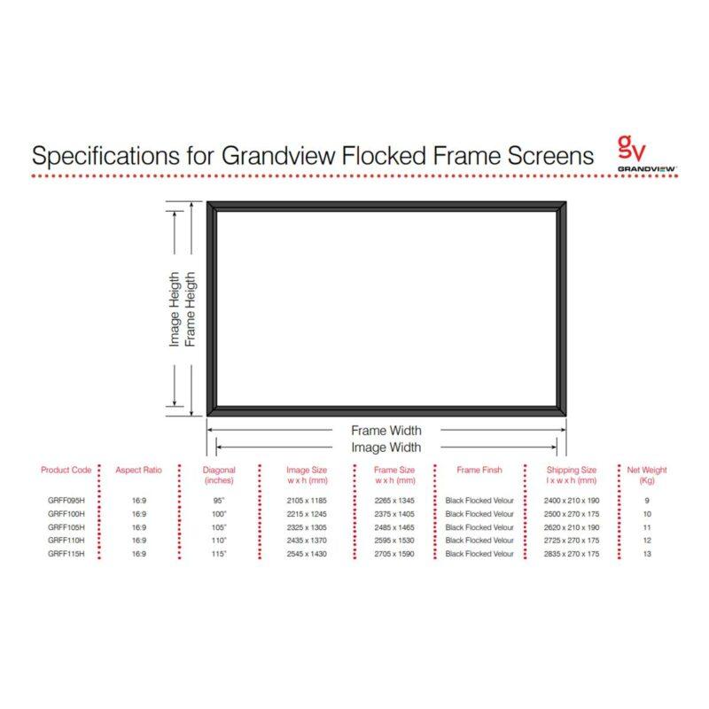 Rapallo   Grandview 16:9 Flocked Fixed Frame Screen